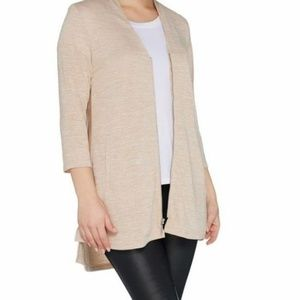 H by Halston Knit Zip Front Cardigan with Side